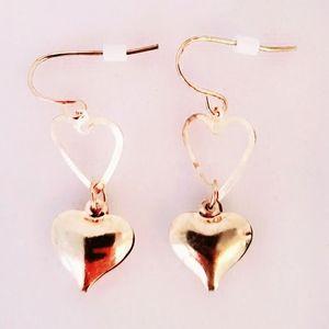❤ 4 for $25 ❤ #1283 Gold Heart Dangle Earrings